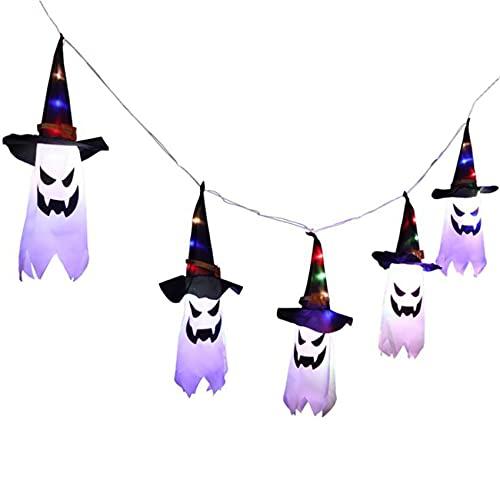 Fauge Decoraciones de Halloween para Colgar Al Aire Libre Sombrero de Bruja Iluminado Decoraciones para Decoraciones de Halloween Al Aire Libre, áRbol, Porche, Patio