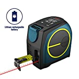 DTAPE Laser Tape Measure 2-in-1,laser measurement 131Ft silent laser range finder USB rechargeable color LCD display, measuring distance, IP54 waterproof, tape length 16Ft, Nylon Coating for DIY