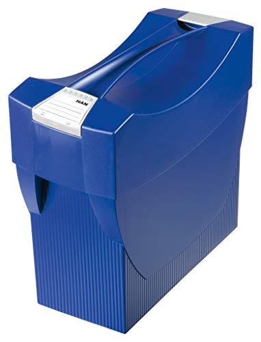 HAN Hängemappenbox SWING-PLUS 1901-14 in Blau / Praktische Ordnungsbox mit Deckel für Mappen und Ordner / Integrierter Stifteköcher für das Bürozubehör