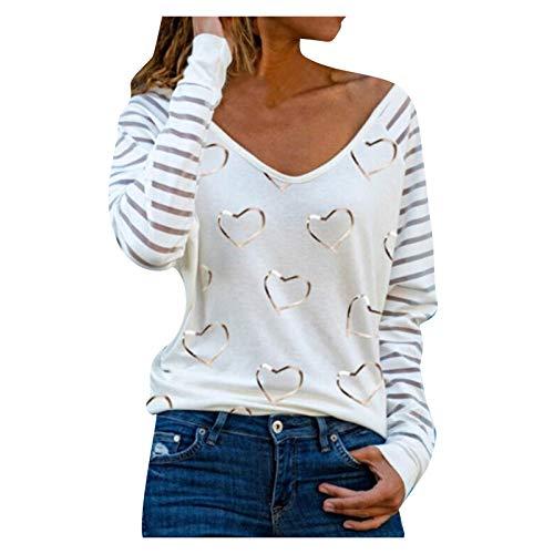 MRURIC Damen Bluse Oberteil Elegante Pullover, Sexy Herzen drucken Shirt Kurzarm/Langarm V-Ausschnitt Sweatshirt T Shirt Top Spitzen Bluse Frühling Sommer Oberteil
