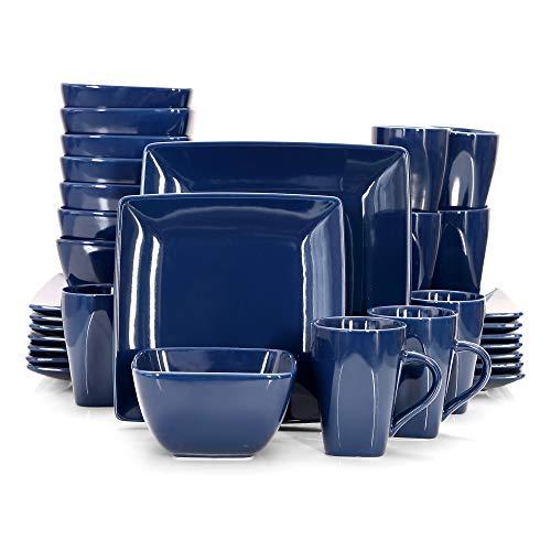 vancasso, Série Soho, Service de Table Complet en Porcelaine, 32 pièces pour 8 Personnes, Assiette Plate Carrée avec Bol à Céréales et Tasse -Bleu