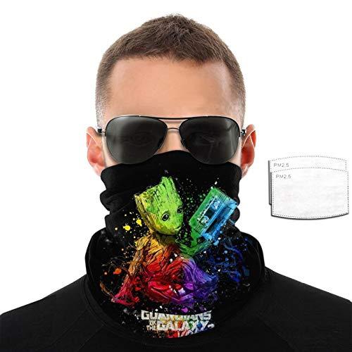 VOROY Guardian-Groot- Cuello con 6 filtros para protección facial de esquí, calentador de cuello negro para caminantes de 9.8 x 19.7 cm