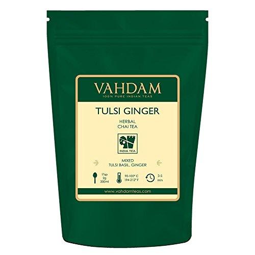 Tulsi Basil Ginger Chai hojas de té de la India(100 tazas),100% NATURAL- Alivio del estrés, refrescante y energizante Hoja suelta de té de hierbas - Deliciosa mezcla de té de jengibre y té Tulsi,200gm