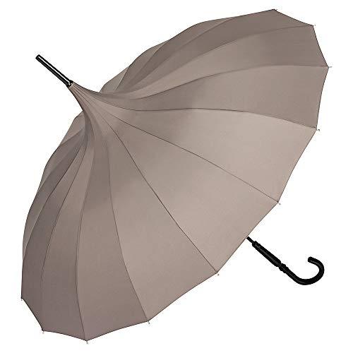 VON LILIENFELD Regenschirm Sonnenschirm Stabil Stockschirm Pagode Charlotte Charlotte Taupe grau