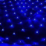 LED Netz-Ineinander greifen Fairy String dekorative Leuchten, 200 LEDs 9.8ft x 6.6ft Baum-wrap, Indoor Outdoor Dekorative Weihnachten Twinkle Lichter, für Hochzeit Garten-Dekorationen,Blau