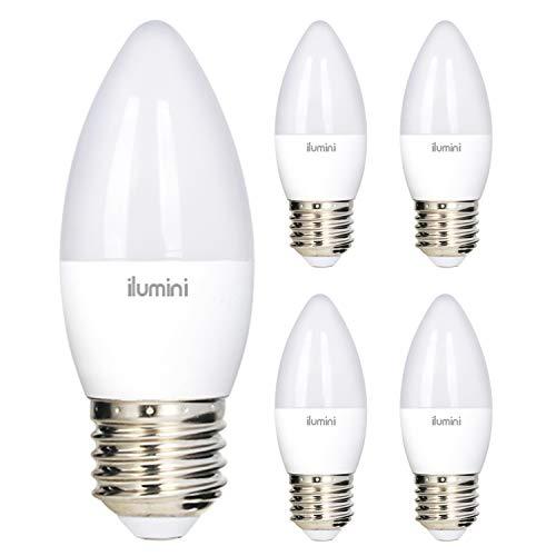ilumini Bombillas LED C37 Vela, Casquillo E27,7W equivalente a 55w, 6500K Luz Fría, 700 Lúmenes [Clase de eficiencia...