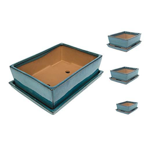 Keramik Bonsaischale in verschiedenen Groessen -TÜRKIS- hochwertiger Blumentopf mit Unterteller/Schale - geflammt für drinnen und draussen, oval - Indoor/Outdoor (18,5 x 14 x 5 cm)