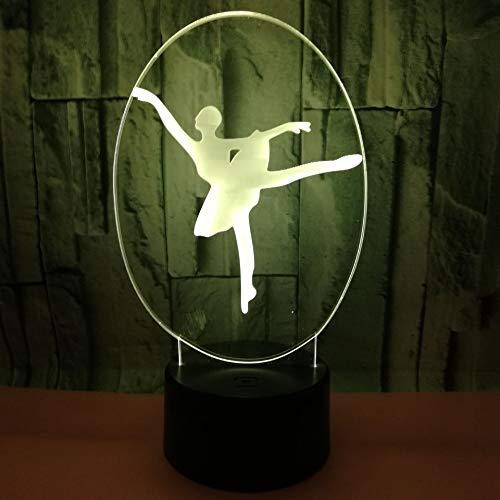 3D illusie nachtlampje LED ballerina licht voor kinderen kinderen decoratie verjaardag cadeau 7 kleurwisseling met afstandsbediening USB powered home slaapkamer decoratie