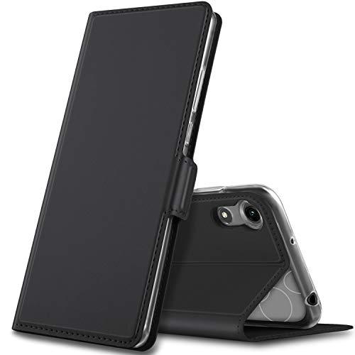 GEEMAI passt für Huawei Y6 2019 Hülle, handyhüllen Flip Hülle Wallet Stylish mit Standfunktion & Magnetisch PU Tasche Schutzhülle für Huawei Y6 Pro 2019/Huawei Y6 Prime 2019 Phone, Schwarz
