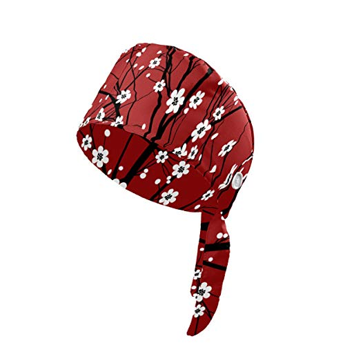 Working Cap with Button Adjustable Tie Back Sweatband Cotton Fabric Unisex Headband Breathable Bouffant Hats Summer Working Hat for Woman Man Chinese Red Plum Blossom Winter Floral
