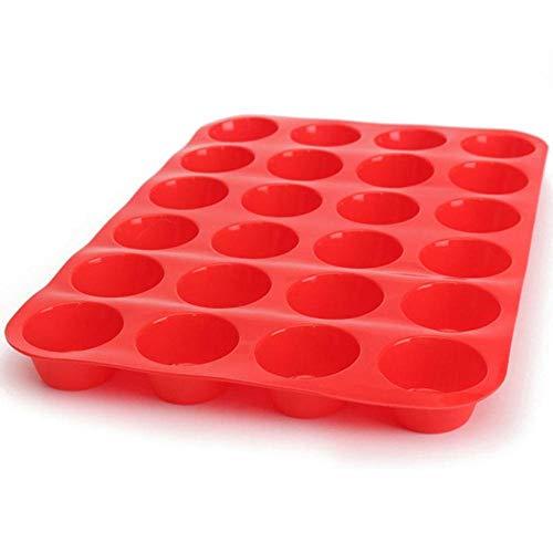 24 Cavity mini muffin siliconen zeep koekjes cupcake bakvormen Pan Tray Mould Cake Decoreren Tools Huisgemaakte DIY Craft Mould, verzending uit: China, kleur: rood