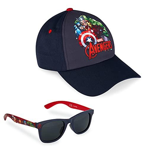 Marvel Pack de Gorra Niño y Gafas de Sol Infantiles de Spiderman y Los Vengadores, Gorra Infantil, Gafas de Sol Niño, Regalos para Niños (Azul Marino)