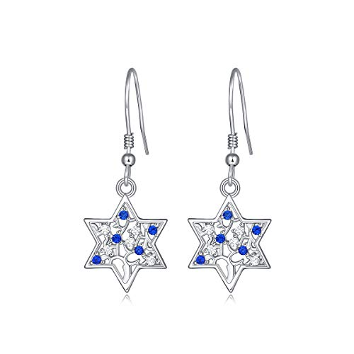 White Gold Plated 925 Sterling Silver Cz Jewish Star Of David Tree Of Life Drop Dangle Earrings For Women and Girls, Hanukkah Christmas Mother's Day Birthday Gifts Jewelry