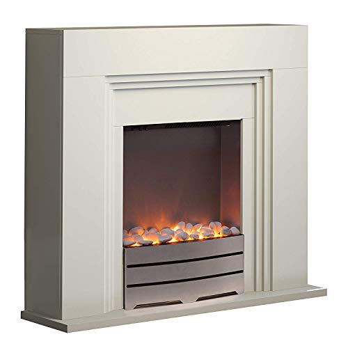 Warmlite WL45011 York Ivory Electric Fireplace Suite with Adjustable Thermostat Control, Safety Cut-Out System, Realistic LED Flame Effect, Pebbles Included, 2 Heat Settings 1000-2000 W, Ivory