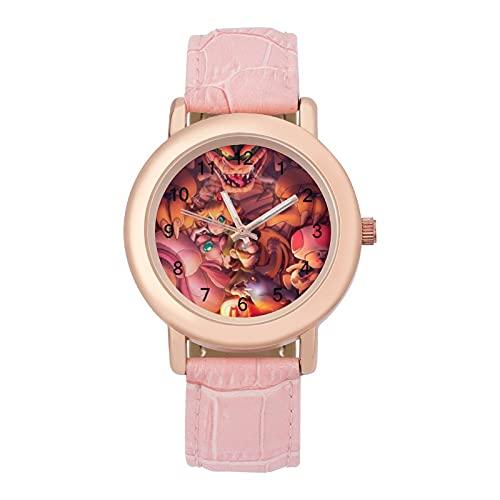 Super Mario CoolLadies Reloj de cuarzo de cuero con correa 2266 espejo de cristal redondo rosa accesorios casuales moda temperamento 1.5 pulgadas