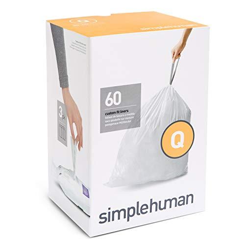 simplehuman - passgenaue Müllbeutel Nachfüllpack Code Q - 50-65 Liter - 3 x Pack mit 20 (60 Beutel)