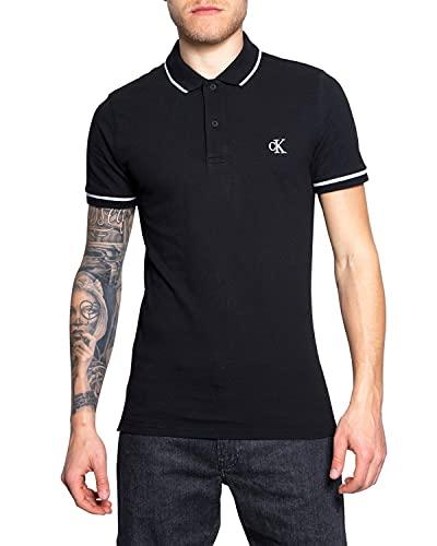 Calvin Klein Tipping Slim Polo Camisa, Black, XS para Hombre