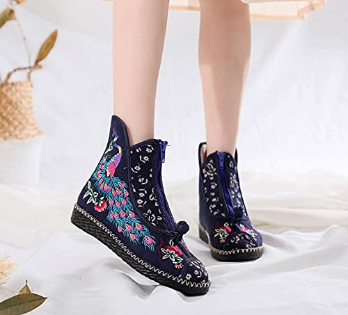 NC JAYBI damskie modne botki haftowane etniczne zestaw przenikający gaz bawełna tkanina okrągłe buty na palcach