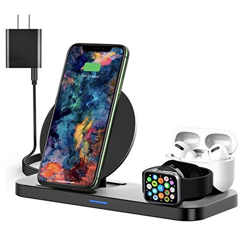 3 in 1 Wireless Ladestation für Apple Produkte, Tekpluze15W Faltbare Fast Wireless Charging Dock für Mehrere Geräte, iPhone 11/11 Pro Max/XR/XS/X Samsung/Apple Watch 6/5/4/3/2/1 SE Airpods
