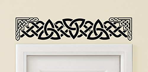Applicable Pun Triple Triquetra Celtic Knot Work with Ornate Frame Doorway Art - 30 Inch Wide by 6 Inch Tall Black Vinyl Wall Decal