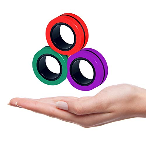 Pageantry Magnet Toys Stress Relief Magnetic Ring Finger Spinning in the Air Colorful Magnetic Rings Fidget Toy Anti-stress Fidget for Games Kid Adult