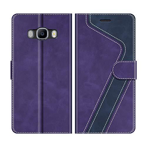 MOBESV Funda para Samsung Galaxy J5 2016, Funda Libro Samsung J5 2016, Funda Móvil Samsung Galaxy J5 2016 Magnético Carcasa para Samsung Galaxy J5 2016 Funda con Tapa, Violeta/Azul Oscuro