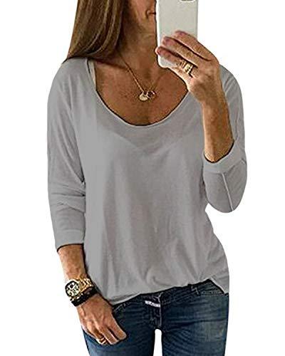 YOINS Pulli Damen Langarmshirt Sweatshirt Rundhals Ausschnitt Oversize Hemd Jumper Bluse Tops Hellgrau-01 EU36-38