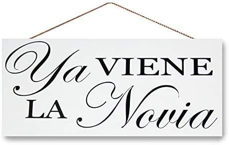 Here Comes The Bride Ya Viene La Novia Sign, Wedding Sign, Modern Decor Sign 12 x6.