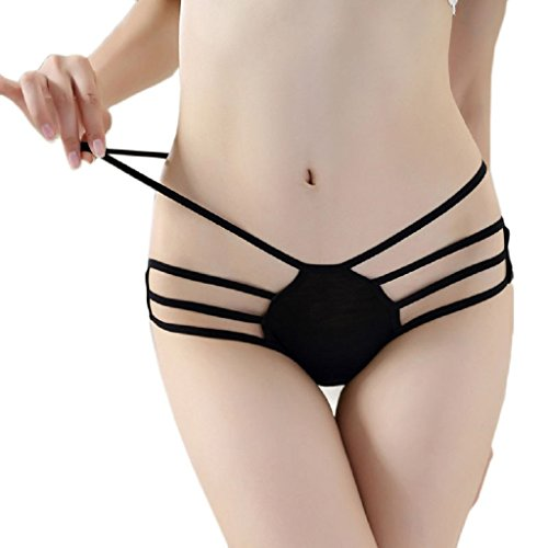 TONSEE® New Women Ouvrir Butt Culotte Bow Tie Sexy Crotchless Lingerie Thongs (Noir)