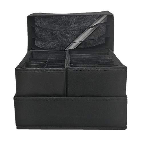 TOSHIN Aufbewahrungsbox für Unterwäsche, 4er Set Faltbox Schubladeneinsätze Organizer Kleiderschrank Schubladen Divider für Socken, BHS, Dessous, Krawatten, und Kleine Zubehorteile Schwarz