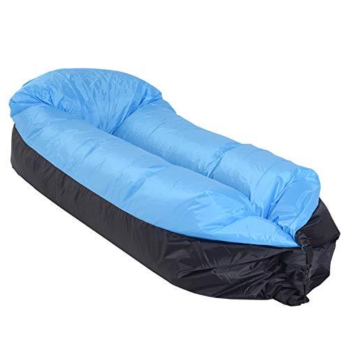 Outsunny Hamac Gonflable Chaise Longue transat Gonflable Pliable en Sac à Dos avec bandoulière Double Couche PE Nylon Bicolore Bleu Noir