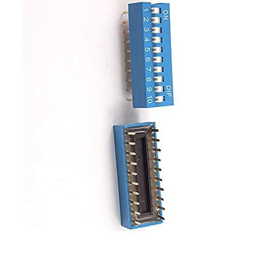 Aexit 10 Unidades Azul 2.54mm Paso Doble Fila 20 Pin 10 Posiciones Tipo (model: R6713IV-7386SW) de Interruptor DIP