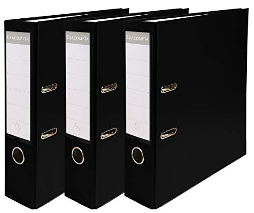Exacompta - Réf. 918401SE - Lot de 3 classeurs à levier - dos de 80mm - format à classer A4 - extérieur en polypropylène / intérieur en papier - noir
