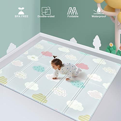 Baby Krabbelmatte Baby Teppich Spielmatte Ungiftig Bodenmatte Verdickte Schaumstoffmatte Faltbare Wasserdicht Rutschfest Tragbar Geeignet 200 x 180 x 1.5cm