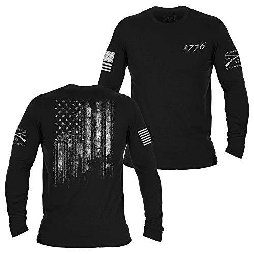Grunt Style 1776 Flag - Long Sleeve (Black, Small)