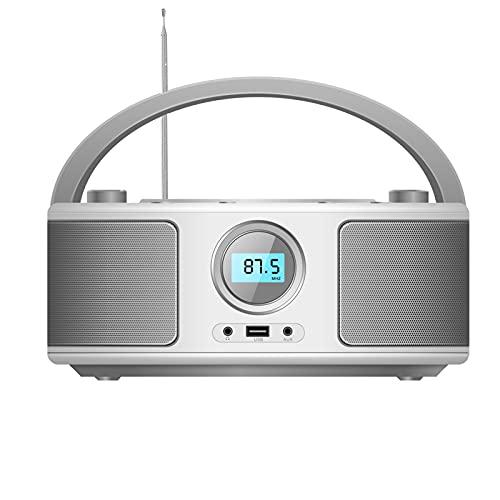 Reproductor de CD portátil Boombox, reproductor de CD-MP3, CD/CD-R, USB, radio FM, entrada auxiliar, reproductor de CD, sistema estéreo, sistema compacto de CD (WTB-791).