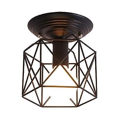UOFUS Semi-Flush Mount Ceiling Lighting Fixture Mini Chandelier ?Industrial Small Ceiling lamp for Hallway Bedroom Kitchen Foyer Bathroom Black.?Metal?