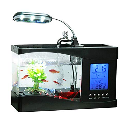 USB Desktop Mini Fish/Small Fry Tank Aquarium met LED-klok Woonkamer Desktop Ecologische Mini Fish Tank Glazen klok aquarium