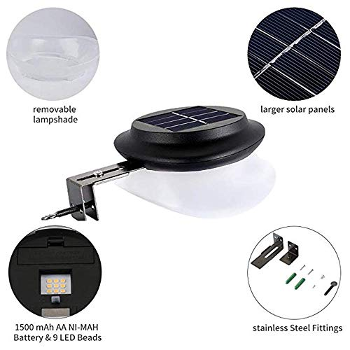 Owalle Solar Fence Gutter Lights with 9 LED Chips for Deck, Yard, Walkways, Stairs, Patio, Pathway, Driveway Auto On/Off During Dawn and Dusk (Black_Warm White Lighting, 6 Pack)