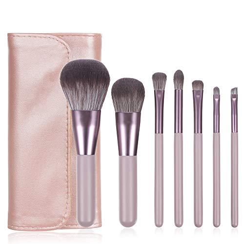 Pinceles de maquillaje rosa conjunto con caja cubo sombra de ojos ceja polvo Fundación cosmética Kit cepillo con bag2