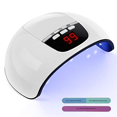 TAOCOCO Lampada UV LED può Curare Rapidamente i Raggi UV Gel Gel Costruttore/LED 45W Potenza Massima Viene Fornito con 2 Bastone per Levigatura Timer Preimpostati (30s,60s,99s) Bianco