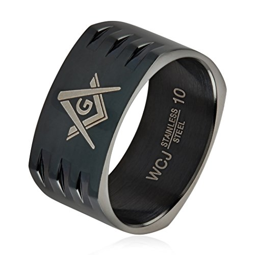Masonic Black Plated Stainless Steel Round Square Band Ring for Men(10mm) - Size 9