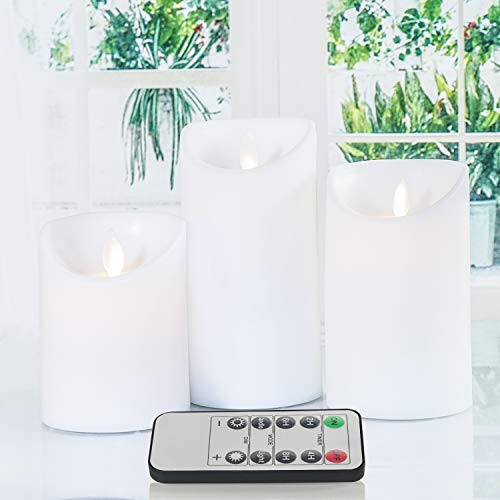 GPODER LED Flameless Candle 3 Packs, Remote Control and Battery Operated Electric Candles, Flickering White Candles Timer Light for Outdoor(10CM/12.3CM/14.8CM)