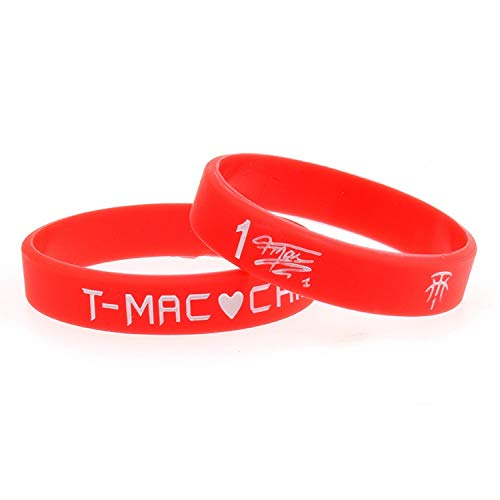 XIXI Signature Edition No. 1-Star Tracy McGrady Basketball-Fans liefert Silikon-Armbänder Armband-Handring Männer und Frauen Sport (Color : Red)