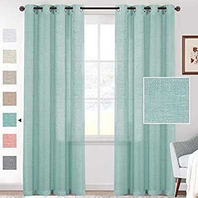 H.VERSAILTEX Linen Sheer Curtains 84 Inches Long Semi Sheer Linen Curtains/Drapes for Living Room Window Treatments Linen Curtain 2 Panels Light Filtering and Privacy Assured (Sea Mist, Grommet)