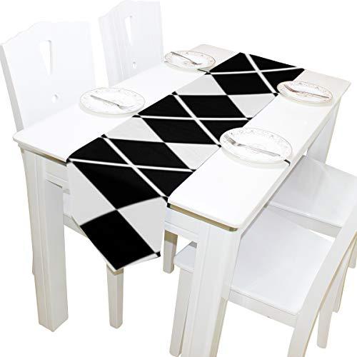 Yushg Schwarz Weiß Diamant Form Ornament Kommode Schal Tuch Abdeckung Tischläufer Tischdecke Tischset Küche Esszimmer Wohnzimmer Home Hochzeitsbankett Dekor Indoor 13x90 Zoll
