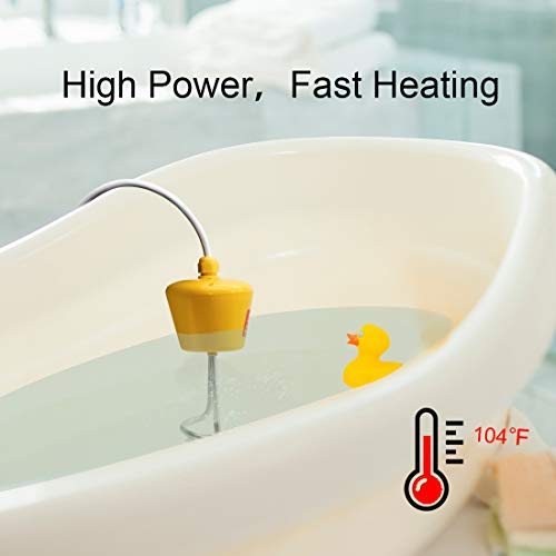 Meackle Immersion Water Heater 1500W, Stainless Steel Floating Heater for Bucket Bath Pool Bathtub, Thicker Cable