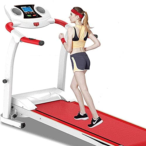 Foldable Electric Treadmill 0HP Steel Frame Treadmill 3 Speed Adjustable Incline and Mute Sport Fitness Equipment with PU Sensor Emergency System-Rojo