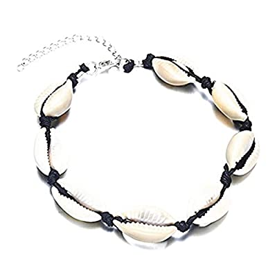 SwanElegant Cowrie Shell Conch Choker Necklace Bracelet Anklet,Handmade Summer Beach Boho Hawaiian Jamaican Wakiki Style Adjustable Choker Necklace Bracelet Anklet Women Girls