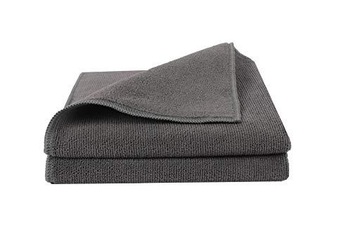 BELLANET 2 STK. Mikrofasertuch, graue Microfaser Reinigungstücher für Politur, Auto & Zuhause 40x40 cm